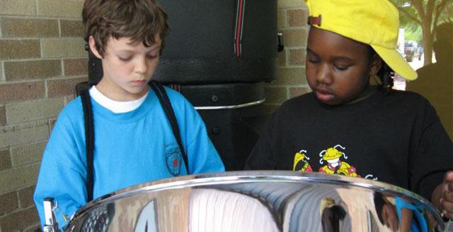 boys in steelband in Austin